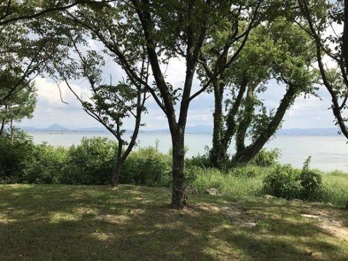 坂本城祉公園から見える琵琶湖