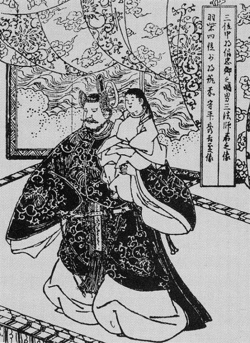 三法師を擁する秀吉~清洲会議の一場面(絵本太閤記)