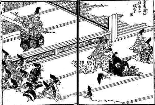森蘭丸に殴打される光秀『絵本太閤記』